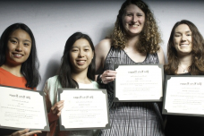 Four of the 72 new members of MIT's chapter of Phi Beta Kappa, Xi of Massachusetts