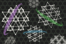 An illustration depicting a kagome metal — an electrically conducting crystal, made from layers of iron and tin atoms, with each atomic layer arranged in the repeating pattern of a kagome lattice.