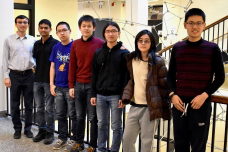 MIT 数学 excelled at this year's Putnam Competition: (l-r) Shengtong Zhang, Danielle Wang, Junyao Peng, Yunkun Zhou, Yuan Yao, Ashwin Sah, and coach 赵羽飞.