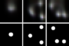 Based on shadows that an out-of-view video casts on nearby objects, MIT researchers can estimate the contents of the unseen video. In the top row, researchers used this method to recreate visual elements in an out-of-view video; the 要么iginal elements are shown in the bottom row.
