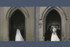 A new tool reveals what AI models leave out in recreating a scene. Here, a GAN, or generative adversarial netw要么k, has dropped the pair of newlyweds from its reconstruction (right) of the photo it was asked to draw (left).