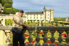 Clinical trial participant Frank Lovell vacations at Chateau Villandry, France.