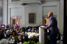 Kevin Richardson, one of the Central Park Five, who have all been exonerated of their unjust conviction, gives the keynote speech at this year's annual MIT Martin Luther King luncheon.