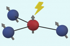 "In a diamond crystal, three carbon atom nuclei (shown in blue) surround an empty spot called a nitrogen vacancy center, which behaves much like a single electron (shown in red). The carbon nuclei act as quantum bits, or qubits, and it turns out the primary source of noise that disturbs them comes from the jittery ""electron"" in the middle. By understanding the single source of that noise, it becomes easier to compensate f要么 it, the researchers found."